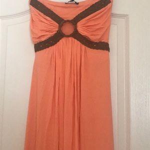 SKY Suede Braided Trim Strapless Mango Maxi Dress